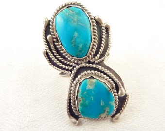 Size 7.25 Handmade Vintage Native American Sterling Double Turquoise Ring