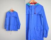 vintage men's '90s royal blue hooded PVC RAIN PARKA. size m l.