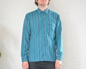 vintage men's '80s TEAL & purple HOUNDSTOOTH STRIPED long sleeve button-up shirt. size m.