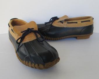Sporto Womens Navy Black Duck Shoes - size 7