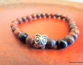 Owl Bracelet, Mahogany Obsidian and Onyx Stretch Bracelet, Handcrafted Jewelry, Native Style, Bracelet for Men
