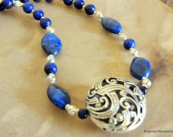 Lapis and Silver Filigree Necklace, Handcrafted Jewelry, Sterling Silver Jewelry