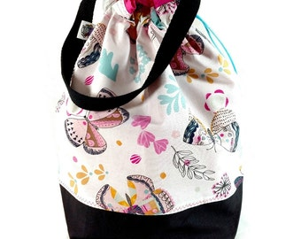 Large Knitting Project Bag Crochet Drawstring Tote WIP Bag - Floral Butterflies