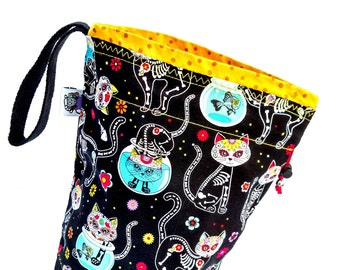 Small Knitting Project Bag Crochet Drawstring Tote WIP Bag - Day Of The Dead Kitties