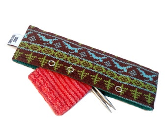 Stitch Holder Point Protector Zipper Pouch Needle Nook - DPN and Circular Project Holder - Holiday Sweater