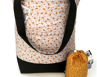 Studio Tote Extra Large Knitting Project Crochet WIP Tote Bag -  Hedgehog Toss