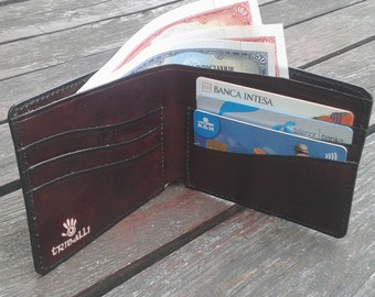 Mens Leather Wallet - Handmade Bifold Leather Wallet - Thin Leather Bifold Wallet - Minimal Leather Wallet - Wallet No 1