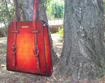 Mirabel - Handmade Leather Handbag - Hand Dyed With Transparetnt Natural Colors For Leather - Leather Tote - Shoulder Bag