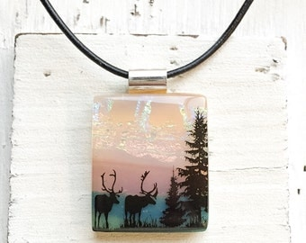Forest - Elk - Fused Glass Pendant - Fused Glass Jewelry - Deer - Dichroic Fused Glass Pendant - Necklace - Fused Dichroic Jewelry
