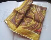 Vintage Burmel Original Fall Scarf * Sheer Cotton Carriage Autumn Theme Scarf * Mod Abstract Art Scarf
