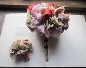 Handmade Wedding Bouquet * Fabric Flowers * Vintage Fabric Pom * Fabric Pom * Gypsy * Bohemian
