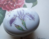 Vintage Ring Box * Porcelain Otagiri Iris * Trinket Box * Vintage Gift Box Ideas * Purple / White Iris and Butterfly Box