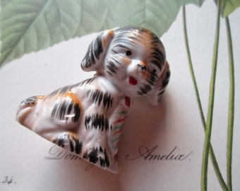 Vintage Dog Figurine * Little Boy Puppy * Father's Day Gifts * Black Brown and Cream * Made in Japan Porcelain Collectible