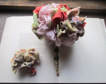 Handmade Wedding Bouquet * Fabric Flowers * Vintage Fabric Pom * Fabric Pom * Gypsy * Bohemian