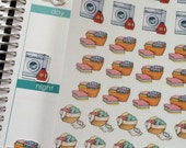 SALE Planner Stickers Laundry Baskets Washing Machine Day Planner Chore Stickers Cleaning Stickers Plum Paper