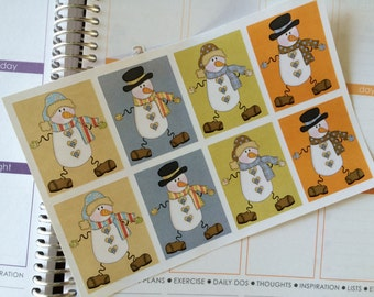 Planner Stickers, 8 Full Box Stickers, Snowman Stickers, Fits Erin Condren Planner, Stickers