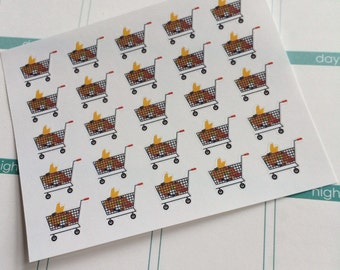 Planner Stickers 25 Grocery Carts Shopping Cart Planner Stickers