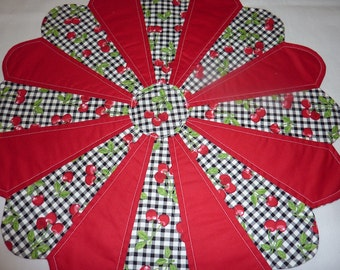 Cherry Gingham Table Topper
