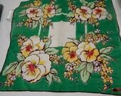 Vintage Bernhard Wolf Handkerchief Hand Rolled Edge Hanky Original Tag Floral Hankies