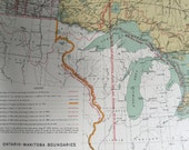 1915 Antique Map of Ontario and Manitoba Boundaries - Vintage Canadian Map