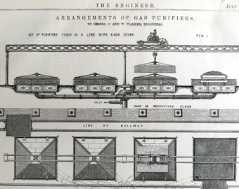 1869 Large English Antique Print of Gas Purifiers - Old Engineering Drawing