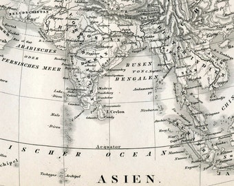 1860 German Vintage Map Asia - Black and White