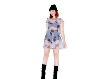 HURRY HALF OFF cutest 90s Dress xs small / sheer dress floral dress skater dress summer dress rose print cyber 90s grunge 90s clothing