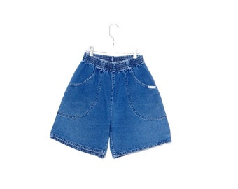 Cutest DENIM SHORTS // elastic waist shorts high waisted shorts high waisted denim shorts distressed jeans mom jeans