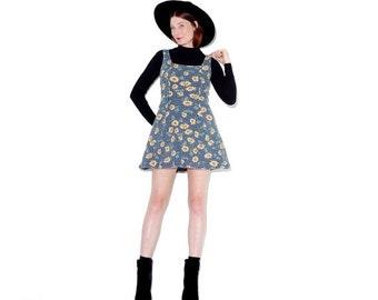 WTF HALF OFF Omg 90s Sunflower Dress / xs small medium / sunflower print floral dress mini dress 90s dress thermal dress stretchy thermal fa