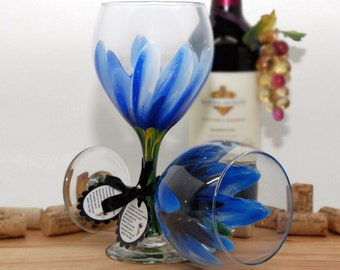 Blue Hibiscus hand painted wine glass - FREE personalization.  (1) Dishwasher safe glass