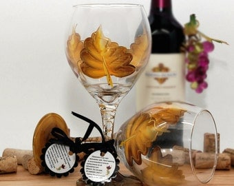 Autumn leaves, fall leaves, gold leaf, painted wine glass, fall decor, autumn wedding, fall wedding, fall decorations, rustic winter decor