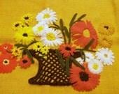 Crewel Embroidery, Finished Crewel, Basket of flowers, Vintage Needlework, Fiber Art Wall Hanging, 1970s Decor
