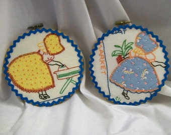 Hoop Art, Sunbonnet Sue, Embroidered Hoop Art, Hand Embroidery, Ironing Day, Market Day, Upcycle