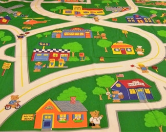 Fabric Play Mat, Road Fabric Panel, Bear Town, Cranston Print Works, Small Town Play mat, Quilt Panel