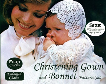 Filet Crochet Christening Gown Pattern Baptism Bonnet Crochet Pattern Baby Dress Pattern PDF B202