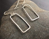 Rectangular fine silver earrings