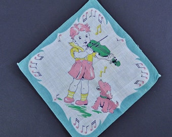 Vintage Child's Hanky - Boy Playing Violin with Howling Dog