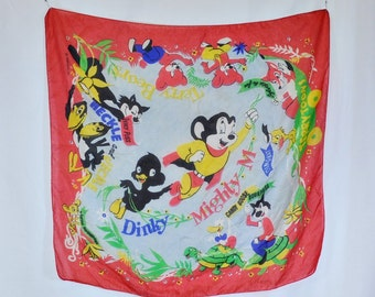 Rare Vintage TerryToons with Mighty Mouse Promotional Silk Scarf - 26 x 26