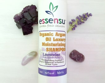 Organic Argan Oil Moisturizing Lavender Aromatherapy Natural Shampoo | Safe on Color Treated Hair | No Sulfates | Vegan | Salon Size - 16 oz