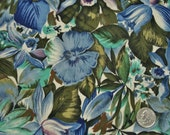 CLEARANCE - Kings Roads Fabric, Sylvan Collection, Blue Floral Fabric, Designer Cotton Quilt Fabric, Quilting Fabric (K)