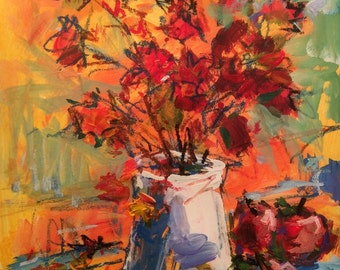 Autumn Foliage Still Life Painting, Original fall art by Russ Potak