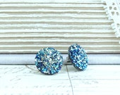 Blue Druzy Studs Faux Druzy Earrings Druzy Stud Earrings Surgical Steel Studs Blue Druzy Earrings