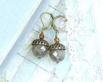 Acorn Earrings Woodland Jewelry Autumn Earrings Acorn Jewelry Fall Earrings Woodland Earrings Nature Jewelry