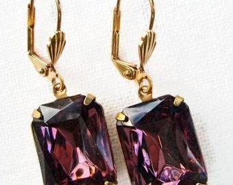 CIJ Sale 20% Off Dangle Earrings Amethyst Purple Estate Style Rhinestone Drop Earrings Art Deco Downton Abbey Jewelry Jewellery WINDSOR Amet