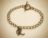 Set of 2 - Pair of Personalized Initial Brass Charm Bracelet