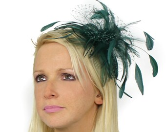 Cleo Army Green Fascinator Hat for Weddings, Races, and Special Events With Headband(20 colours)