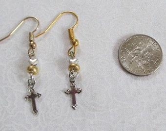 Cross Earring Heart And Gold Bead Pierced Earrings