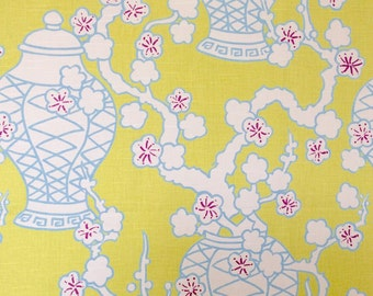 Chinoiserie Fabric in Chartreuse Aqua and WhIte - Clearance Sale