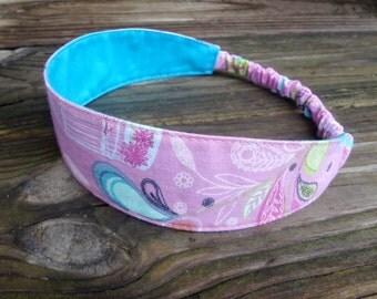 Fabric Headband with Elastic: Pink and Aqua