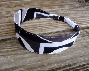SALE Fabric Headband: Black and White Geometric Print